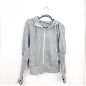 Lululemon Light Gray Zip Front Hooded Sweatshirt